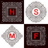 Uppsättning av monogrambokstäver Arkivfoton