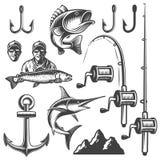 Uppsättning av monokromma fiskebeståndsdelar Arkivfoto