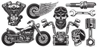 Uppsättning av monokromma motorcykelbeståndsdelar Royaltyfri Bild