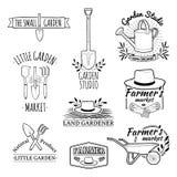 Uppsättning av monokromma retro logoer för tappning, emblem royaltyfri illustrationer