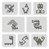 Uppsättning av monokromma symboler med tecken för indianrelikdumskallar (del 9) vektor illustrationer