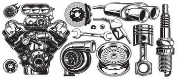 Uppsättning av monokromma tjänste- beståndsdelar för bilreparation Arkivfoton