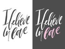 Uppsättning av motivational citationstecken om förälskelse Räcka bokstäver- och egentypografi för din design vektor Royaltyfria Bilder