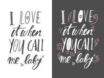 Uppsättning av motivational citationstecken om förälskelse Räcka bokstäver- och egentypografi för din design vektor royaltyfri illustrationer