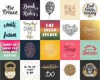 Uppsättning av motivational och inspirerande märka affischer för vektor 20, hälsningkort, garnering, tryck, t-skjorta design vektor illustrationer