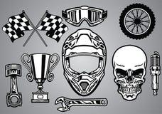 Uppsättning av motocross som springer med skallen stock illustrationer