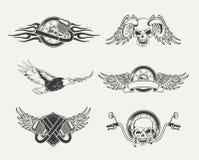 Uppsättning av motorcykelemblem, emblem, etiketter Fotografering för Bildbyråer