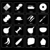 Uppsättning av muffin, taco, ärtor, lök, knivar, kaffe, Risotto, Aspa vektor illustrationer