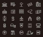 Uppsättning av museumsymboler eller symboler Arkivfoton