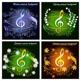 Uppsättning av musikaliska kort vid säsongerna royaltyfri illustrationer