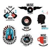 Uppsättning av musikaliska logoer och emblem Royaltyfria Bilder