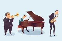 uppsättning av musiker på vit bakgrund Saxofonist pianist, trumpetare Tecknad filmstil Royaltyfri Foto