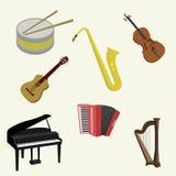 Uppsättning av musikinstrument Royaltyfri Bild