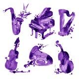 Uppsättning av musikinstrument för violet för handattraktionvattenfärg Royaltyfria Foton