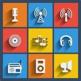 Uppsättning av 9 musikrengöringsduk och mobilsymboler. Vektor. Royaltyfri Fotografi