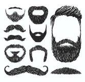 Uppsättning av mustasch- och skäggkonturer, vektorillustration royaltyfri illustrationer