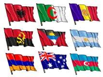 Uppsättning av nationsflaggor Arkivfoto