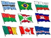 Uppsättning av nationsflaggor Arkivbilder