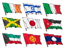 Uppsättning av nationsflaggor Royaltyfria Bilder