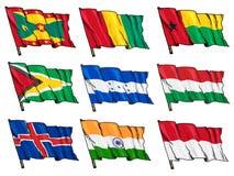Uppsättning av nationsflaggor Arkivbild