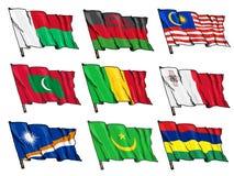 Uppsättning av nationsflaggor Royaltyfri Bild