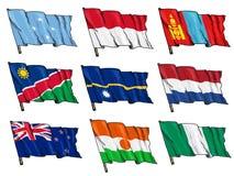 Uppsättning av nationsflaggor Fotografering för Bildbyråer
