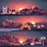 Uppsättning av nattlandskapet, berg, solnedgång, lopp som fotvandrar, natur, lägereld, stor turist- ryggsäck som campar, stad Royaltyfri Fotografi