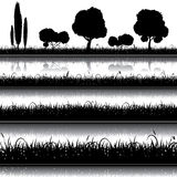 Uppsättning av naturbakgrund med gräs, buskar och träd Arkivfoton