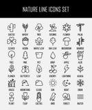 Uppsättning av natursymboler i den moderna tunna linjen stil Arkivfoto