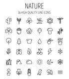 Uppsättning av natursymboler i den moderna tunna linjen stil Royaltyfri Fotografi