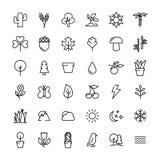 Uppsättning av natursymboler i den moderna tunna linjen stil Royaltyfria Bilder