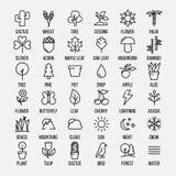 Uppsättning av natursymboler i den moderna tunna linjen stil Arkivbild