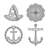 Uppsättning av nautiska designbeståndsdelar Royaltyfria Foton