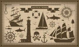 Uppsättning av nautiska designbeståndsdelar, vektor EPS10 stock illustrationer