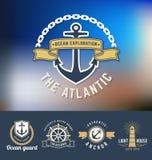 Uppsättning av nautiska Logo Template Royaltyfri Fotografi