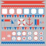 Uppsättning av nautiska partibeståndsdelar för tappning Royaltyfri Foto