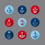 Uppsättning av nautiska symboler för ankare stock illustrationer