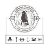 Uppsättning av nautiska symboler för emblem i tappningstil royaltyfri illustrationer