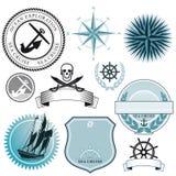 Uppsättning av nautiskt skepptecken vektor illustrationer