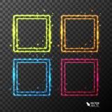 Uppsättning av neonramar med olik färg Arkivfoton