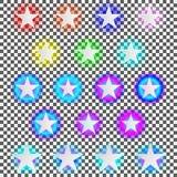 Uppsättning av neonstjärnor Arkivbilder