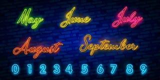 Uppsättning av neonsymbolet för månadnamn med färgrika beståndsdelar: Vektorillustration Glödande neontecken, ljust glöda stock illustrationer