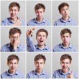 Uppsättning av nio bilder av nätt ung man med olika gester och sinnesrörelser royaltyfri bild