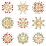 Uppsättning av nio blom- runda designbeståndsdelar Royaltyfri Foto