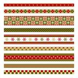 Uppsättning av nio dekorativa beståndsdelar för jul Royaltyfri Fotografi