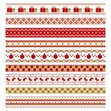 Uppsättning av nio dekorativa beståndsdelar för jul Arkivbild