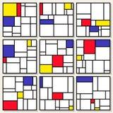 Uppsättning av nio fyrkantiga sammansättningar för vektor i Piet Mondrian De Stijl Style Royaltyfri Fotografi