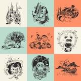Uppsättning av nio illustrationer med den drog handen Arkivfoton