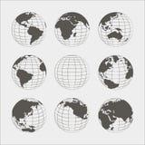 Uppsättning av nio jordklot royaltyfri illustrationer