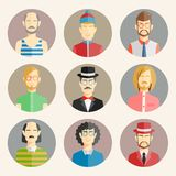 Uppsättning av nio manliga avatars Royaltyfri Fotografi